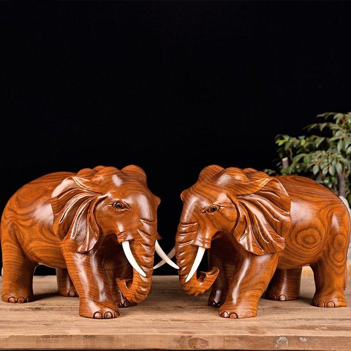 【睿智精品】中式居家擺設 花梨木招財象一對 花梨木大象一對 客廳擺設(GA-4425)