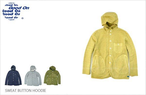 WaShiDa【gobw1409p】Good On 日本品牌 後染 純棉 連帽 刷毛 長袖 短版 排扣 大衣 外套