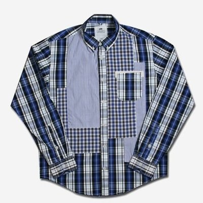 【YOYOGI PLUS】ADLIB - 總合格紋混拼襯衫 (藍:S~L)