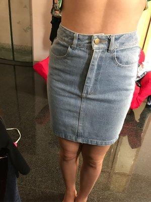 美國American apparel 淺藍 高腰 牛仔 窄裙 s