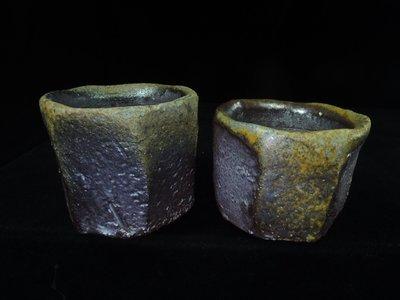 【古物玩家】張家誌老師 [柴燒面取茶杯2個] 茶壺 茶海陶器 藝術品 編號 [E244]