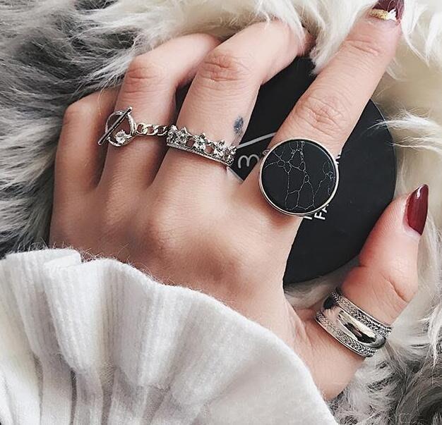 日韓簡約關節戒指女組合套裝個性潮人學生單身尾戒指環復古裝飾品