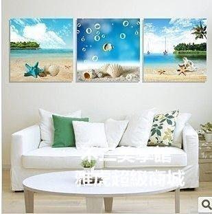 【格倫雅】^客廳家居裝飾畫現代書房臥室餐廳掛畫沙發背景墻壁畫風景海星貝殼56969[D