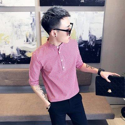 DS_08網紅時尚夏季短袖小碼男裝瘦版格子XS襯衫半袖S休閒小版襯衣190小個子瘦人