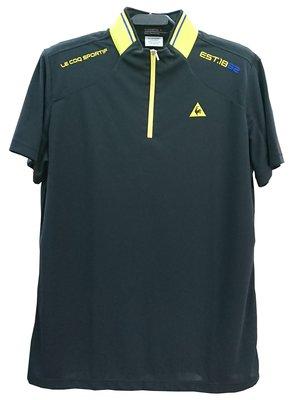藍鯨高爾夫 公雞 le coq sportif 男短袖立領衫(黑)#QGH24201