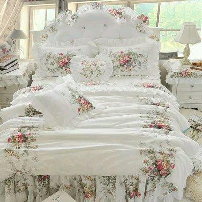 粉紅玫瑰精品屋~韓式玫瑰純棉床組~雙人加大