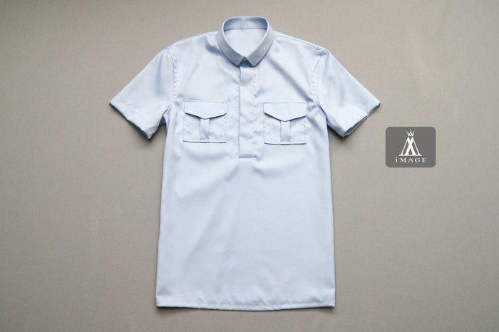 SIMPLE IMAGE(手工製作)valentino風格夏季短袖襯衫a688水藍色