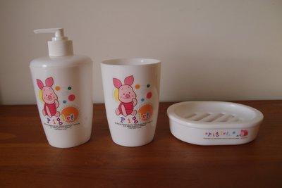 Piglet沐浴罐&漱口杯&肥皂盤+miffy肥皂盤+miffy置物桶(高17.5cm 直徑17.5cm)