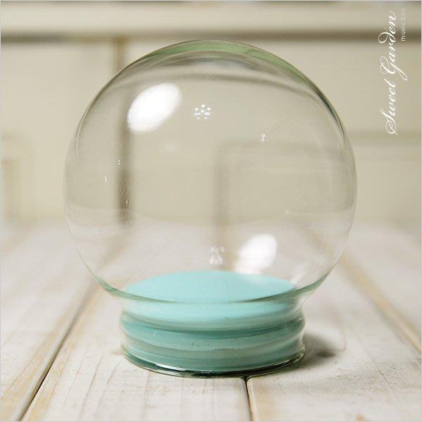 Sweet Garden, 10cm玻璃球罩+藍色軟膠塞 送亮粉 DIY水晶球 氣象球 雪花球 星空球 油水球 有刮痕