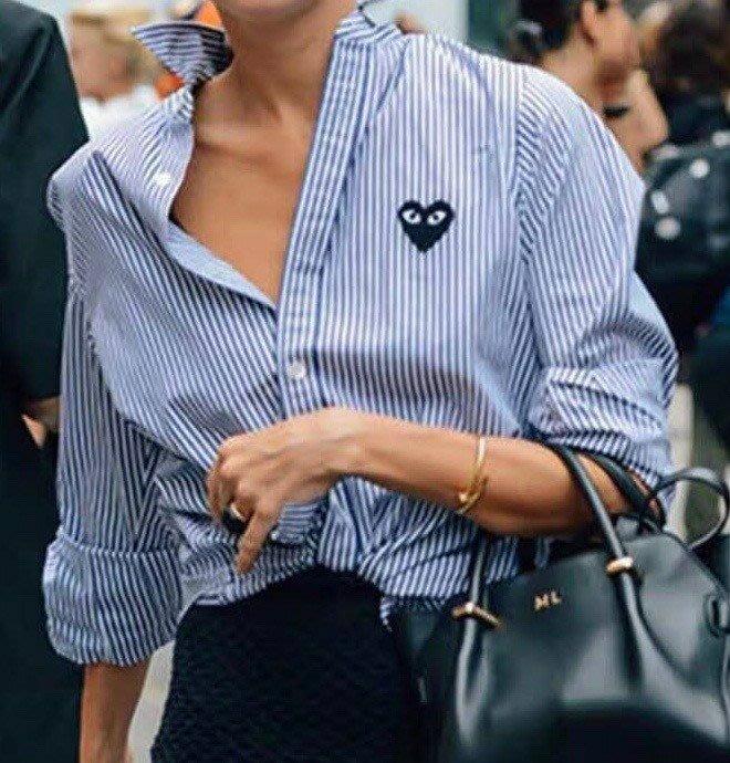 重量級 日本知名高級時尚時裝品牌 川久保玲 萬年不敗的修身款 經典條紋襯衫