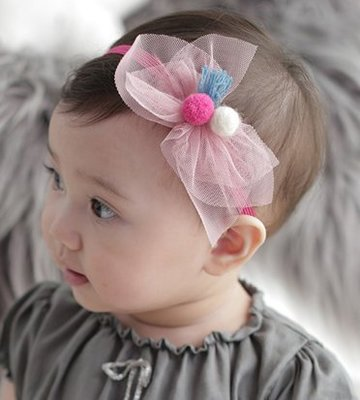 BHL061-韓劇童星愛用品牌HappyPrince 毛球網紗蝴蝶結寶寶嬰兒童髮帶【現貨】韓國製