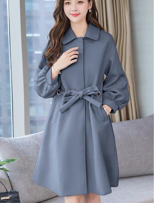 現貨 藍L中長款大衣外套風衣毛呢28103寬松顯瘦潮赫本風秋冬呢子大衣