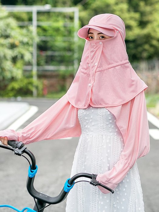 遮陽帽女夏天防曬帽戶外騎車防紫外線大沿太陽帽子女遮臉護頸涼帽防曬