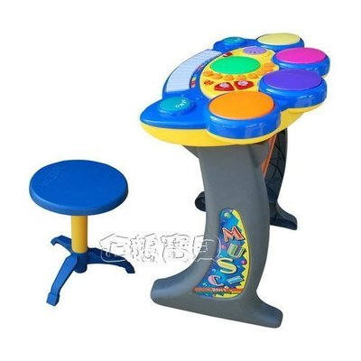 @企鵝寶貝二館@ EMC 伊買-電子琴鼓 多功能電子琴+鼓(二合一) 附小板凳(椅子)