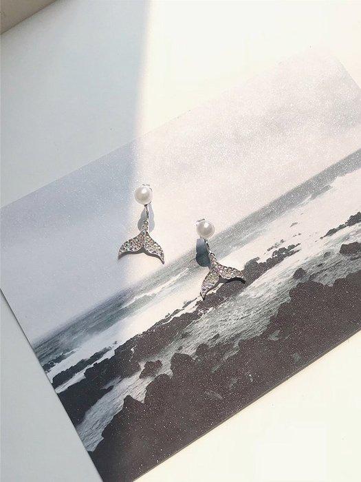 ins風美人魚尾耳環女韓國氣質簡約潮人滿鑲鉆后掛式珍珠耳釘E367 女性配饰 简约百搭 小清新