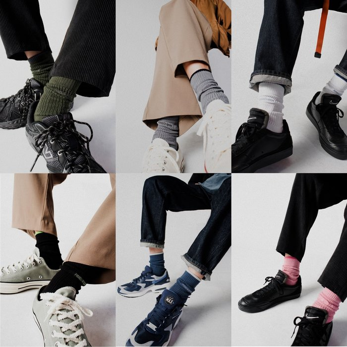 { POISON } NOZZLE QUIZ LAYERS 融入印象台灣設計 自然垂墜感中筒橫紋羅織襪