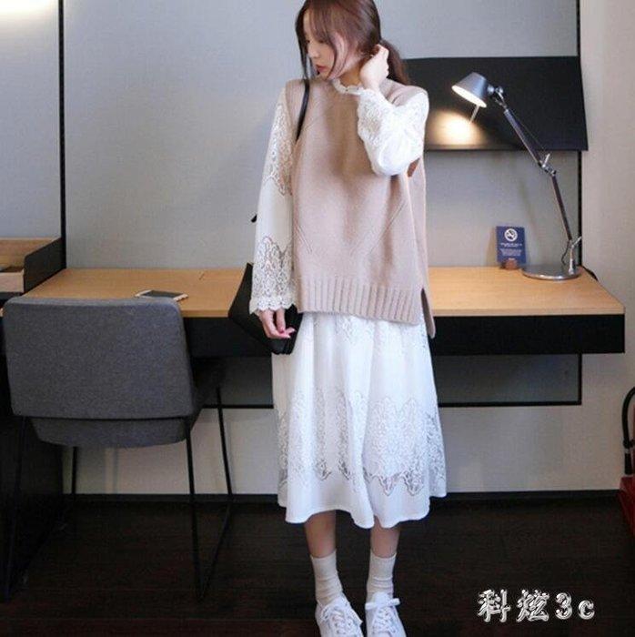 毛衣背心裙兩件套韓版中長款寬鬆套裝秋裝女2018新款長袖連衣裙子 GB6539