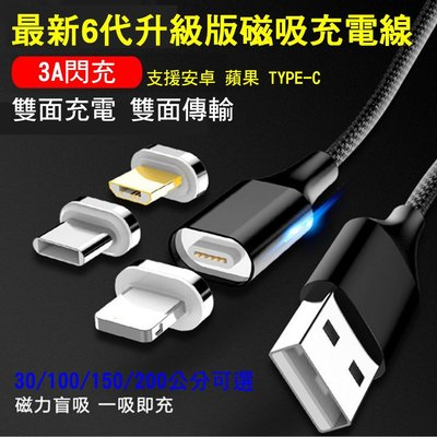 【超低價 萬核六代雙面傳輸1線1吸頭1M/30cm】3A大電流側面夜燈 磁吸充電線 QC3.0充電線 蘋果安卓TypeC