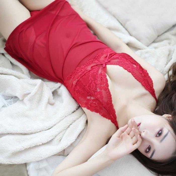 現貨/赤芯蕾絲薄紗吊帶大碼夏冬透明女性感睡衣裙火辣成人情趣內衣騷129SP5RL/ 最低促銷價