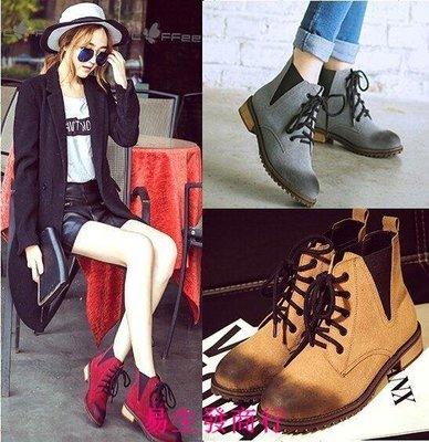 【易生發商行】切爾西大碼女鞋41-43秋短靴復古平底加絨英倫風系帶馬丁靴及踝靴F6157