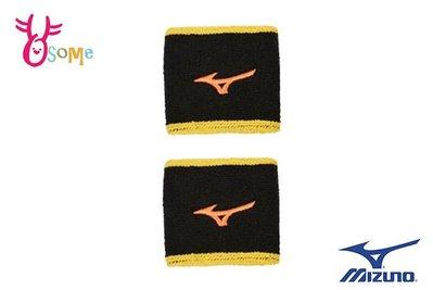 MIZUNO 美津濃 護腕 短腕帶 刺繡 logo 毛巾組織(一雙入) A0442#黑黃OSOME奧森童鞋
