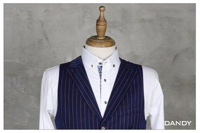 ├ DANDY ┤時尚條紋窄版開襟背心 ‧ 馬甲合身剪裁嚴選舒適布料藍色-CL7921-112