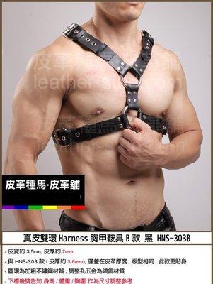 【OTOKO】Leather Stud皮革種馬:真皮雙環Harness胸甲鞍具B款 黑 HNS-303-B