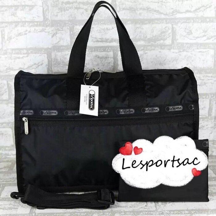 Lesportsac 7184 經典黑 手提肩背斜背中款旅行包 降落傘防水 附收納袋 全黑限量 限時優惠