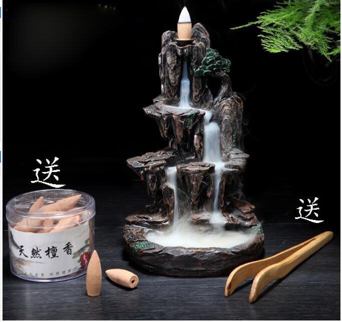 【弘慧堂】 倒流香爐高山流水創意擺件檀香沈香大號茶道家用室內香薰爐