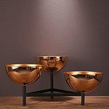 〖洋碼頭〗簡約現代美式家居飾品創意金屬果盤點心盤客廳書房桌面合金擺件 ysh439