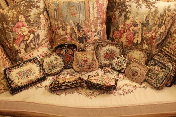 【家與收藏】賠售特價稀有珍藏歐洲古董英國古典手工刺繡手拿晚宴古董包刺繡包 7