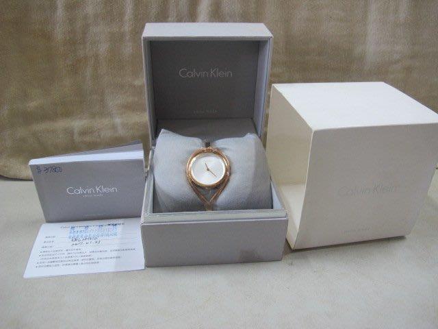 二手舖 NO.3729 Calvin Klein CK Light 輕時尚手鐲女錶 玫瑰金 簡約大方 K6L2M616
