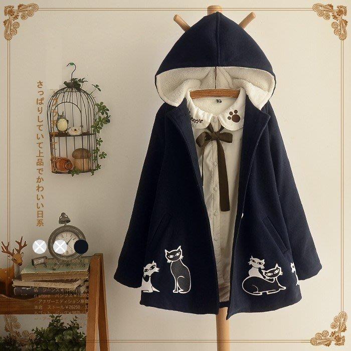 ☆紫米粒小舖☆【R5023】外套 日系森女小貓印花加絨加厚連帽毛呢外套。(現貨)