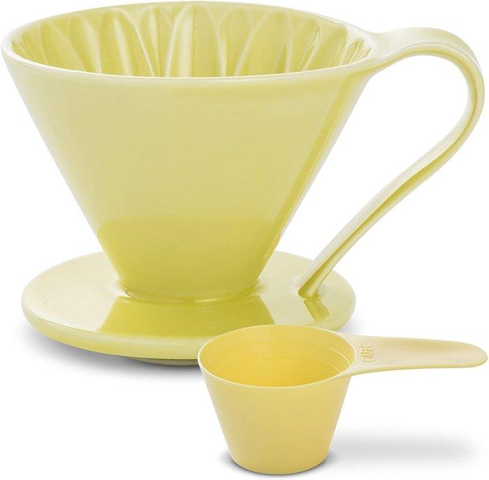 CAFEC 日本三洋花瓣濾杯 黃色 有田燒 1-2人份