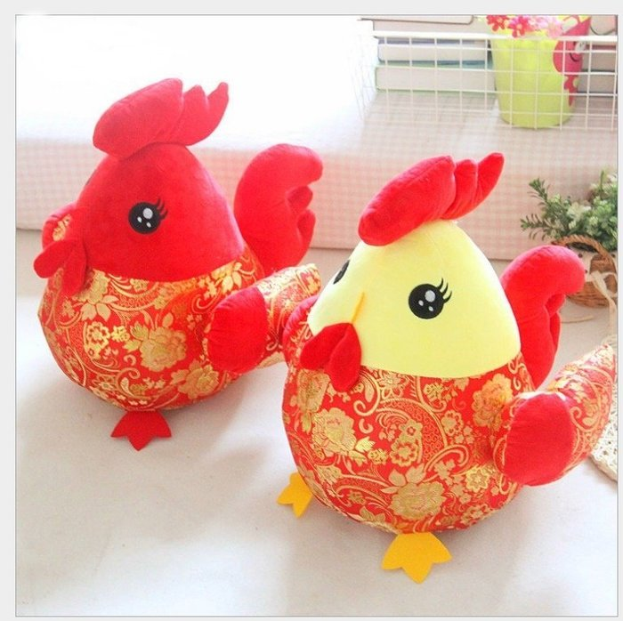 LoVus- 雞年吉祥物小雞布娃娃大公雞毛絨玩俱生肖公仔玩偶(20cm)