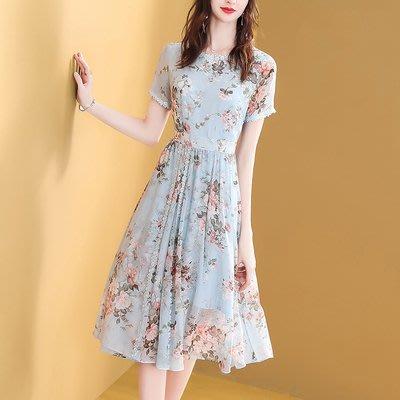 6627碎花雪紡連衣裙2019新款夏天淑女裝氣質時尚顯瘦流行裙子