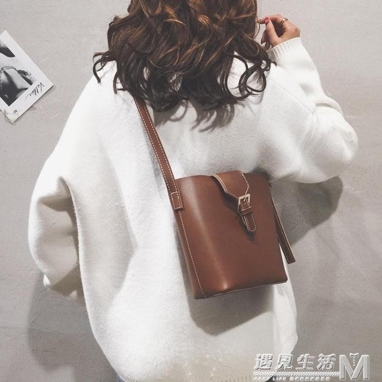 小包包女新款秋冬款潮韓版百搭時尚水桶包女士單肩斜背包 全館免運