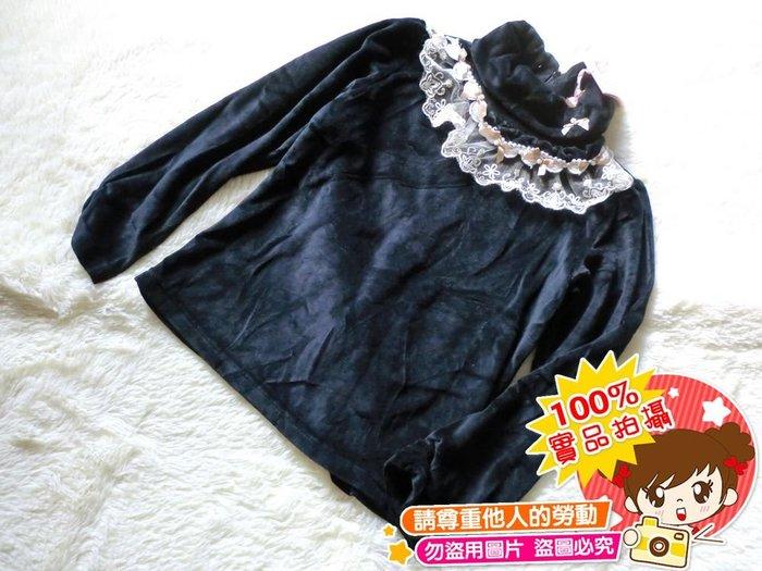 ❤厤庭童裝舖❤最後一件【E465】女孩領口蕾絲花邊天鵝絨上衣/內搭衣/T恤(11號)