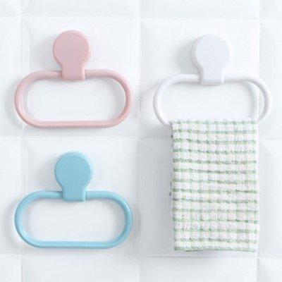 Color_me【M180】多功能黏貼毛巾環 廚房 衛生間 抹布 掛架 毛巾架 收納 架子 擦手巾 支架 陽台 晾曬