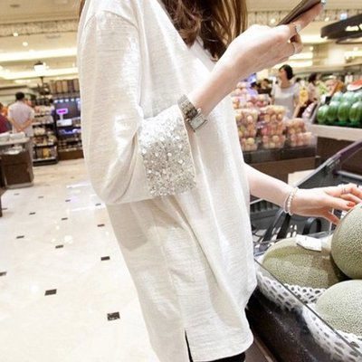 ❤Princess x Shop❤寬鬆薄長袖竹節棉T恤DL19040621正韓國連線吊帶褲蕾絲一字領露肩