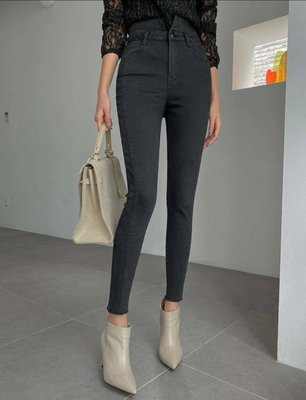 *~fuyumi boutique~*100%正韓 新款 黑色高腰單扣窄管褲 XS~XL