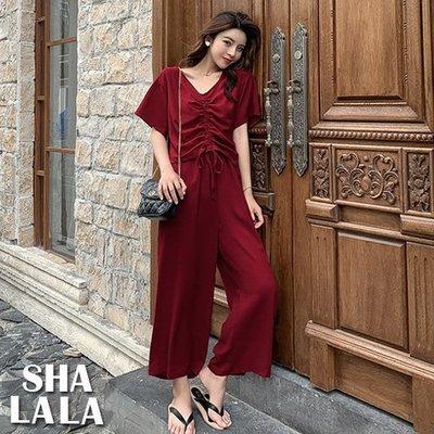 SHA LA LA 莎菈菈 韓版V領抽繩短袖T恤+寬鬆高腰長褲兩件式套裝2色2019050509預購款