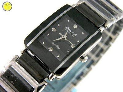 @(六四三鐘錶精品店)@歐美仕...(真品)黑陶瓷藍寶石水晶玻璃不銹鋼頂級女錶!!