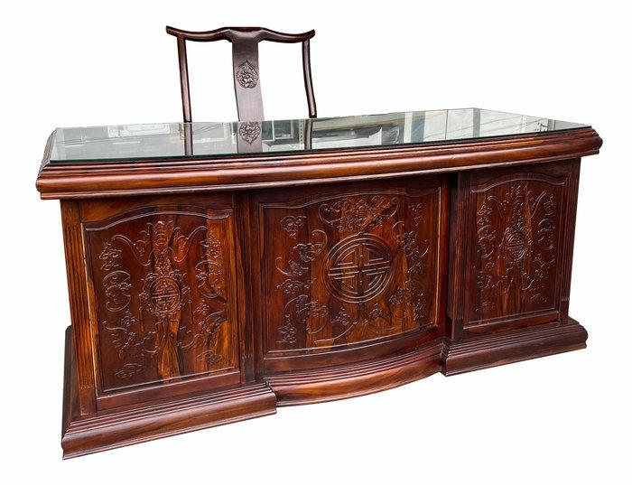 【宏品二手家具】GT121505*雞翅木7抽書桌 主管桌(不含椅)* 2手桌椅 全新中古傢俱家電買賣 台北新竹桃園