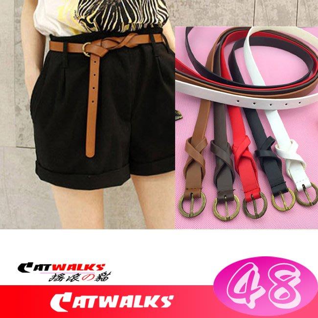 台灣現貨  * Catwalk's 搖滾の貓 * 韓版復古風古銅色扣環8字裝飾簡約款細腰帶 ( 駝色、咖啡色、紅色、黑色