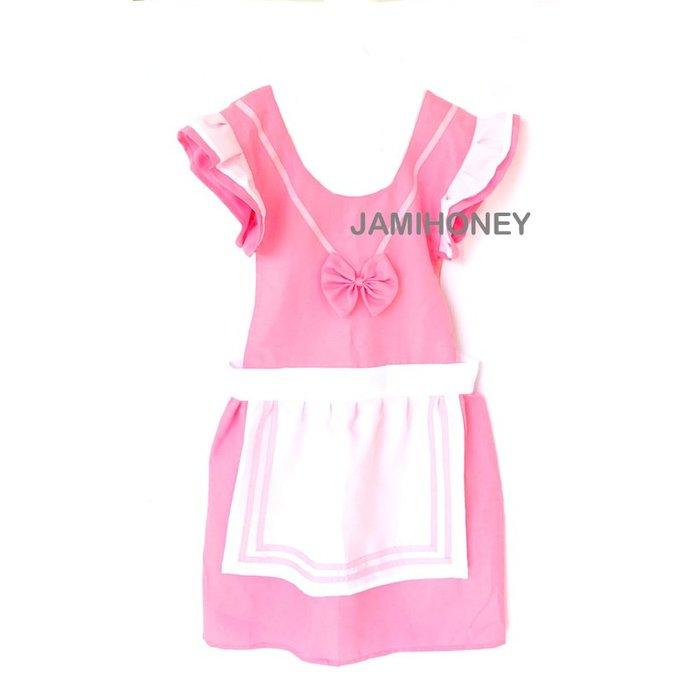 甜美粉白圍裙 成人圍裙【JI2379】《Jami Honey》