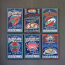 美式鄉村海鮮龍蝦螃蟹魚餐廳酒吧店鋪壁畫版畫牆飾裝飾畫(9款可選)