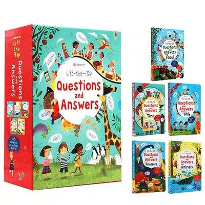 英文原版繪本 Usborne 驚奇翻翻問答科普集 Lift-the-Flap Questions and Answers 5冊大開本翻翻書 精裝