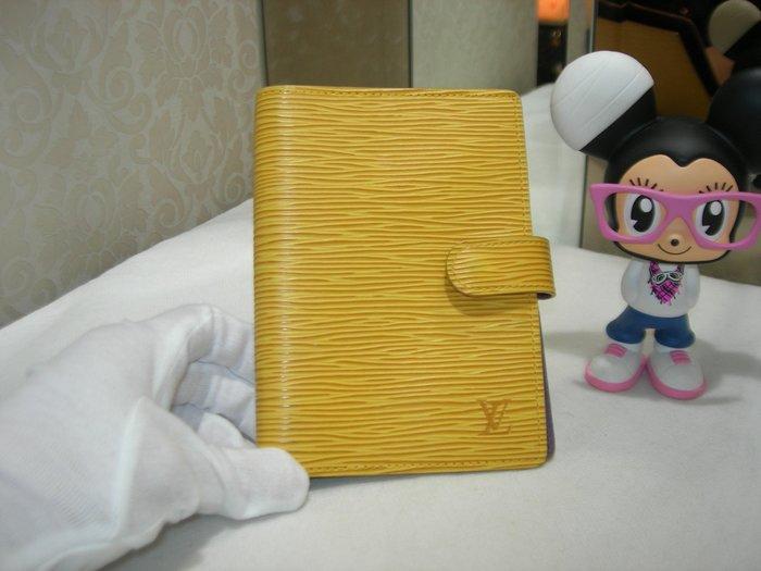 典精品名店 LV 真品 黃色 EPI 水波紋 紫色內裡 三卡 六孔 筆記本 記事本 現貨