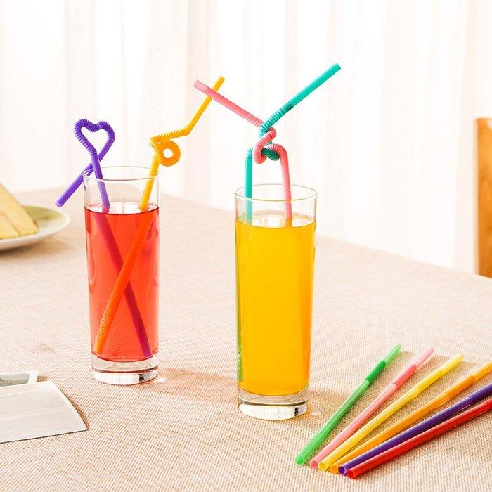 清潔彩色可彎曲塑料加長懶人喝水吸管創意兒童一次性果汁飲料奶茶吸管